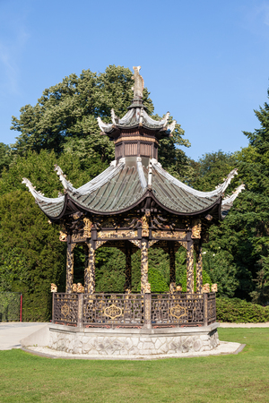 far east: BRUSSELS, BELGIUM - AUG 22: Chinese pavilion at the Museum of the Far East in Brussels. August 22, 2015 in Brussels, Belgium Editorial