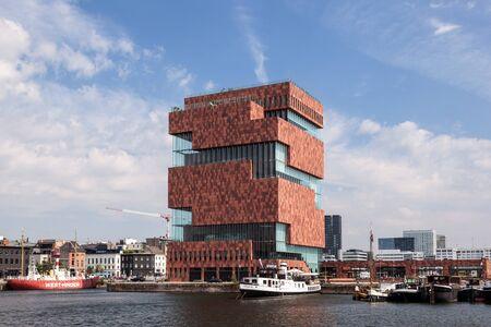 mas: ANTWERP, BELGIUM - AUG 23: The Museum aan de Stroom (MAS; Dutch for Museum at the river) in Antwerp. August 23, 2015 in Antwerp, Belgium