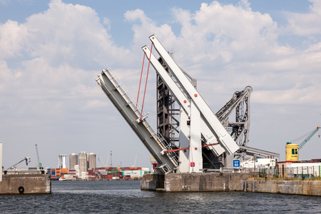 movable bridge: ANTWERP, BELGIUM - AUG 23: Automatic movable bridge in the open position at the port of Antwerp. August 23, 2015 in Antwerp, Belgium Editorial