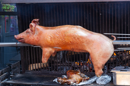 Roasted pig on the traditional barbecue