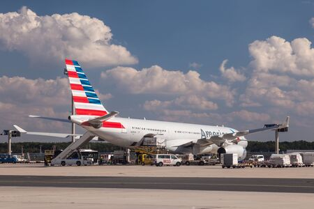 american airlines: FRANKFURT - SEP 11: Airbus A330-243 from American Airlines at the Frankfurt International Airport. September 11, 2015 in Frankfurt Main, Germany Editorial
