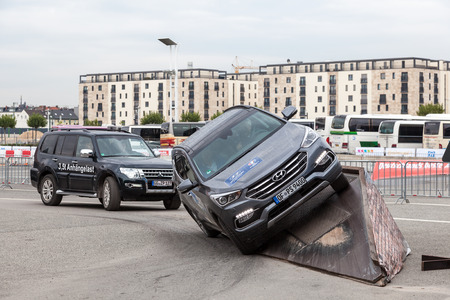 fairground: FRANKFURT, GERMANY - SEP 22: Offroad parcours at the fairground of the IAA International Motor Show 2015. September 22, 2015 in Frankfurt Main, Germany