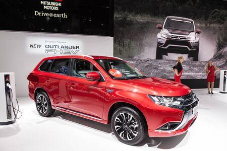 outlander: FRANKFURT, GERMANY - SEP 22: The new Mitsubishi Outlander PHEV at the IAA International Motor Show 2015. September 22, 2015 in Frankfurt Main, Germany Editorial