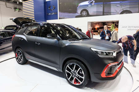 yong: FRANKFURT, GERMANY - SEP 22: The new Ssang Yong XLV concept car at the IAA International Motor Show 2015. September 22, 2015 in Frankfurt Main, Germany