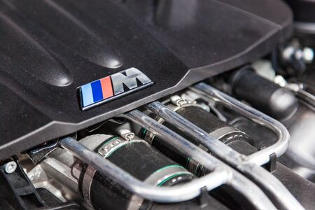 supercharged: FRANKFURT, GERMANY - SEP 22: The new BMW M Series motor at the IAA International Motor Show 2015. September 22, 2015 in Frankfurt Main, Germany