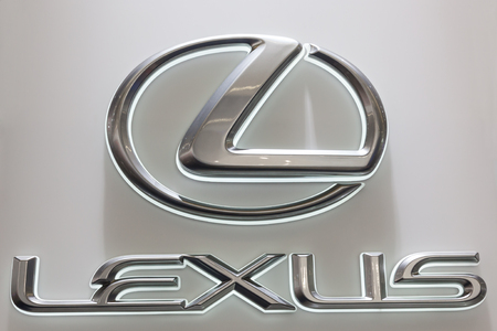 lexus auto: FRANKFURT, GERMANY - SEP 22: Lexus Company Logo at the IAA International Motor Show 2015. September 22, 2015 in Frankfurt Main, Germany