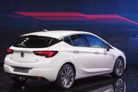 astra: FRANKFURT, GERMANY - SEP 22: The new Opel Astra at the IAA International Motor Show 2015. September 22, 2015 in Frankfurt Main, Germany