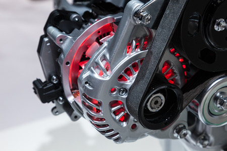 alternator: Cross section of an electric generator at the auto motor Editorial