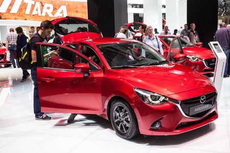 september 2: FRANKFURT, GERMANY - SEP 22: New Mazda 2 Compact Hatchback at the IAA International Motor Show 2015. September 22, 2015 in Frankfurt Main, Germany Editorial