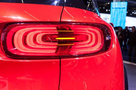 tail light: FRANKFURT, GERMANY - SEP 22: 3D Tail light of the Citroen Aircross Concept Car at the IAA International Motor Show 2015. September 22, 2015 in Frankfurt Main, Germany