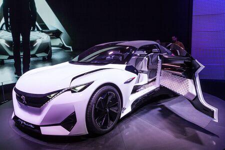psa: FRANKFURT, GERMANY - SEP 22: Peugeot Fractal Concept Car at the IAA International Motor Show 2015. September 22, 2015 in Frankfurt Main, Germany Editorial