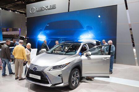 lexus auto: FRANKFURT, GERMANY - SEP 22: Lexus RX450h Hybrid SUV at the IAA International Motor Show 2015. September 22, 2015 in Frankfurt Main, Germany Editorial