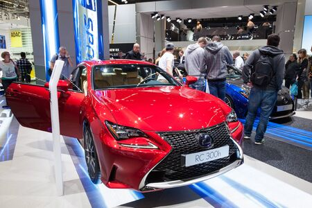 lexus: FRANKFURT, GERMANY - SEP 22: Lexus RC300h Hybrid Sports Car at the IAA International Motor Show 2015. September 22, 2015 in Frankfurt Main, Germany Editorial