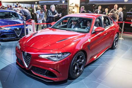 romeo: FRANKFURT, GERMANY - SEP 22: New Alfa Romeo Giulia at the IAA International Motor Show 2015. September 22, 2015 in Frankfurt Main, Germany