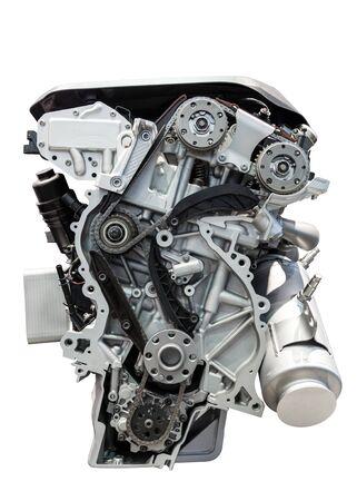 Four cylinder car engine isolated on white background
