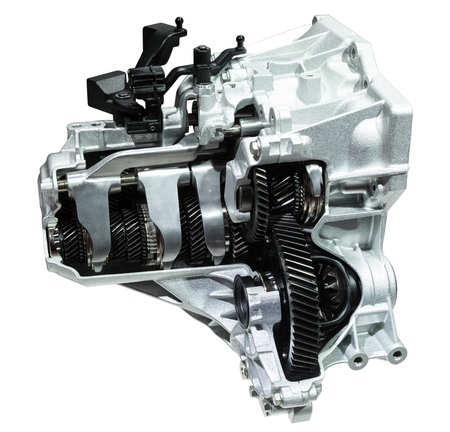 Cross section of a modern six speed automatic transmission isolated on white Stockfoto