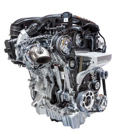 Los modernos motores de tres cilindros reducido coche cilindros aislados sobre fondo blanco Foto de archivo - 46522578