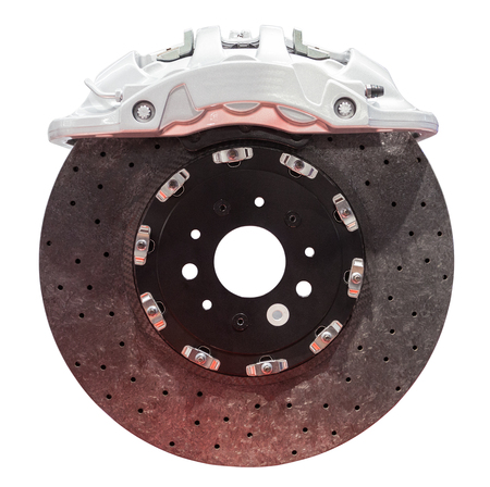 perfomance: Carbon ceramic brake for high perfomance automobiles Stock Photo