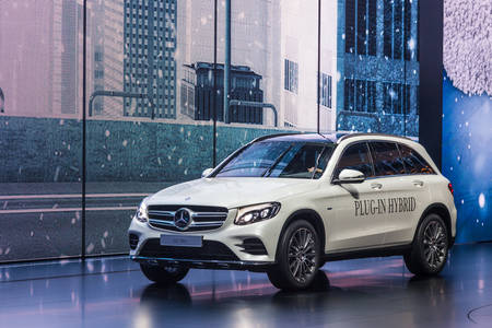 plugin: FRANKFURT, GERMANY - SEP 22: Mercedes Benz GLC 350 e Plug-In Hybrid at the IAA International Motor Show 2015. September 22, 2015 in Frankfurt Main, Germany Editorial