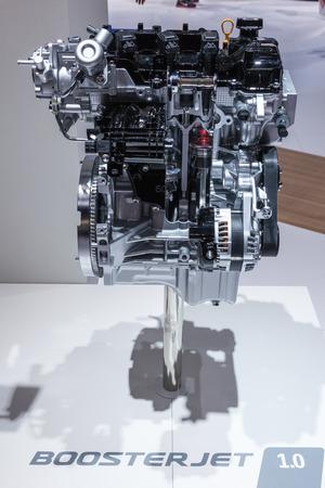 iaa: FRANKFURT, GERMANY - SEP 22: New Suzuki Three Cylinder BoosterJet 1.0 Engine presented at the IAA International Motor Show 2015. September 22, 2015 in Frankfurt Main, Germany