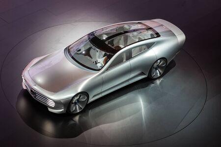 aerodynamic: FRANKFURT, GERMANY - SEP 22: Mercedes Benz Concept IAA (Intelligent Aerodynamic Automobile) at the IAA International Motor Show 2015. September 22, 2015 in Frankfurt Main, Germany Editorial
