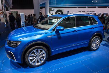 FRANKFURT, GERMANY - SEP 22: New Volkswagen Tiguan SUV at the IAA International Motor Show 2015. September 22, 2015 in Frankfurt Main, Germany