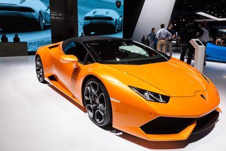 gallardo: FRANKFURT, GERMANY - SEP 22: Lamborghini Aventador Convertible at the IAA International Motor Show 2015. September 22, 2015 in Frankfurt Main, Germany