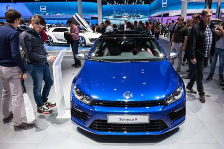 FRANKFURT, GERMANY - SEP 22: Volkswagen Scirocco R at the IAA International Motor Show 2015. September 22, 2015 in Frankfurt Main, Germany Editorial