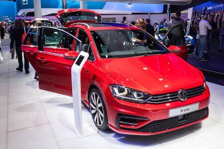 FRANKFURT, GERMANY - SEP 22: Volkswagen Sportsvan R-Line at the IAA International Motor Show 2015. September 22, 2015 in Frankfurt Main, Germany