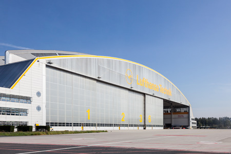 technics: FRANKFURT, GERMANY - OCT 3: Lufthansa Technics Hangar at the Frankfurt Airport. October 3, 2015 in Frankfurt Main, Germany