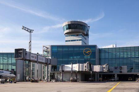 FRANKFURT, GERMANY - OCT 3: Control Tower at Terminal 2 at the Frankfurt International Airport. October 3, 2015 in Frankfurt Main, Germany