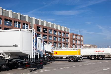 fillup: FRANKFURT, GERMANY - OCT 3: Fuel trucks at the Frankfurt Airport. October 3, 2015 in Frankfurt Main, Germany