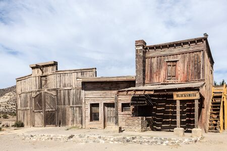 ghost town: Wooden buildings in an abandoned american ghost town Editorial