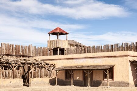 historic: Historic wooden american wild west fort Stock Photo
