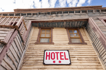 accomodation: Abandoned old wooden two star hotel building