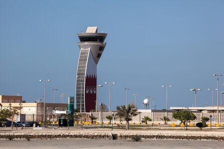 bah: MUHARRAQ, BAHRAIN - NOV 15: Control Tower of the Bahrain International Airport. November 15, 2015 in Muharraq, Kingdom of Bahrain, Middle East Editorial