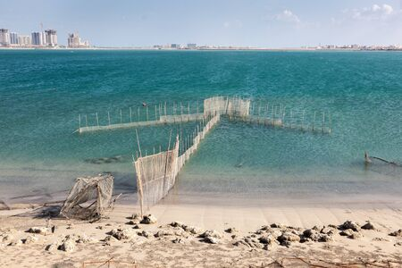 persian gulf: Fishing Nets in the persian Gulf, Kingdom of Bahrain, Middle East Stock Photo