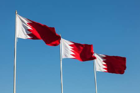 gcc: National flags of the Kingdom of Bahrain, Middle East Stock Photo