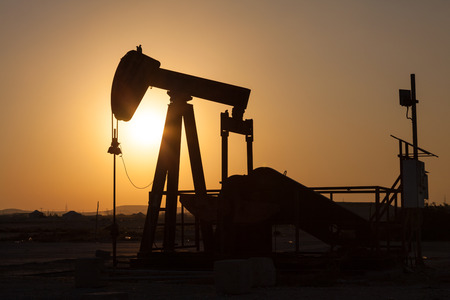 east: Oil pump in the desert of Bahrain, Middle East Stock Photo