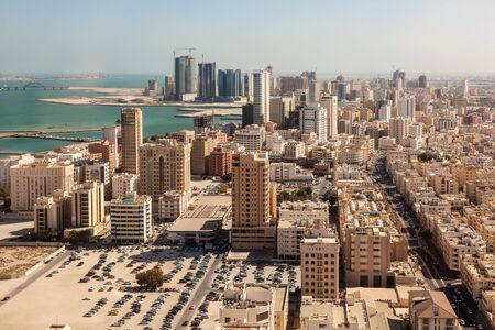 middle east: Aerial view over the city of Manama, Kingdom of Bahrain, Middle East