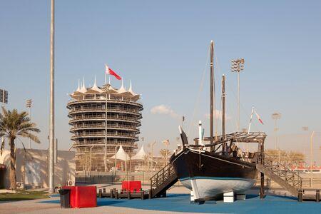 bahrain: BAHRAIN - NOV 16: Traditional dhow ship at the Bahrain International Circuit. November 16, 2015 in Bahrain, Middle East Editorial