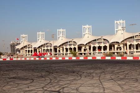 skidmark: BAHRAIN - NOV 16: Skid marks at the parking lot of the Bahrain International Circuit. November 16, 2015 in Bahrain, Middle East