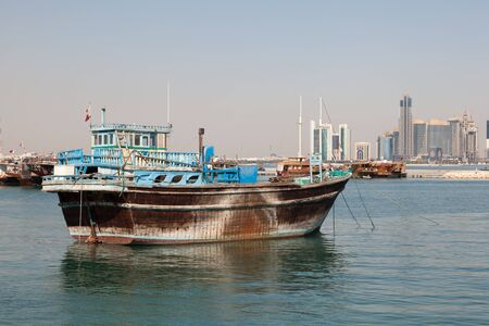 middle east: Traditional arabian dhow in Doha, Qatar, Middle East Stock Photo