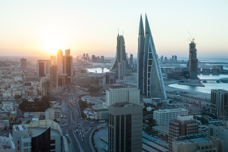 High angle view of Manama City at sunset. Kingdom of Bahrain, Middle East Stock Photo