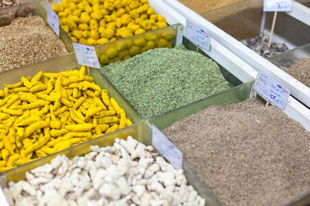 souq: DOHA, QATAR - NOV 19: Oriental spices for sale in the spice section of Souq Waqif. November 19, 2015 in Doha, Qatar, Middle East Stock Photo