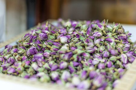 souq: Dry rose buds in spice section of Souq Waqif. Doha, Qatar, Middle East