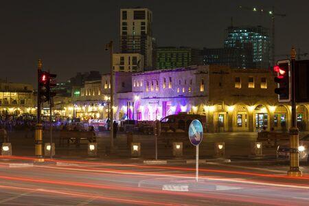 souq: DOHA, QATAR - NOV 19: Souq Waqif in Doha illuminated at night. November 19, 2015 in Doha, Qatar, Middle East