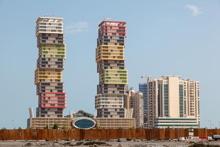twin tower: DOHA, QATAR - NOV 20: The new Lusail Marina Twin Tower. November 20, 2015 in Doha, Qatar, Middle East