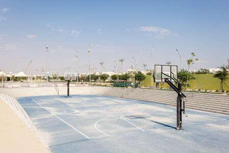 outdoor basketball court: DOHA, QATAR - NOV 20: Outdoor basketball court at the Qatar Education City. November 20, 2015 in Doha, Qatar, Middle East Editorial