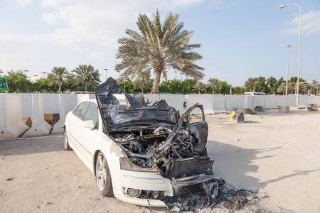 burnt out: Burnt out body of a luxury car
